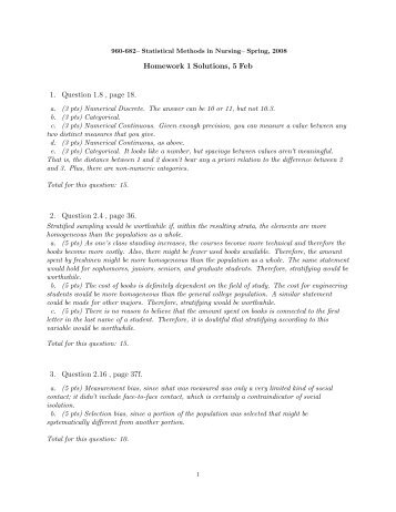 Homework 1 Solutions, 5 Feb 1. Question 1.8 , page 18. 2. Question ...