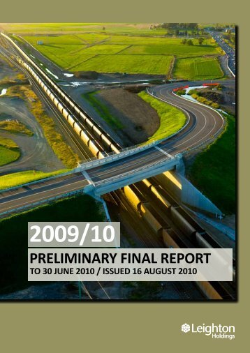 Preliminary Final Report to 30 June 2010 - Leighton Holdings