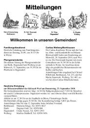 Mitteilungen Willkommen in unseren Gemeinden! - St. Nikolaus Büren