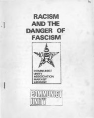 RACISM AND THE DANGER OF- FASCISM