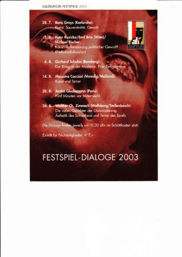 Festspiel-Dialoge 2003: Spiel und Terror - W-k.sbg.ac.at