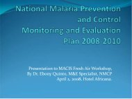 National Malaria Prevention and Control Monitoring ... - CORE Group