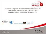 Qualifizierung und Betrieb des Sterilbereiches im ... - Der Cluster