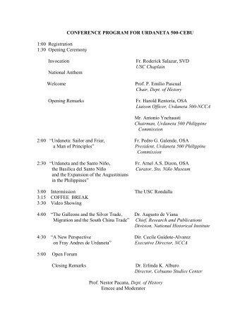 conference program for urdaneta 500-cebu - University of San Carlos
