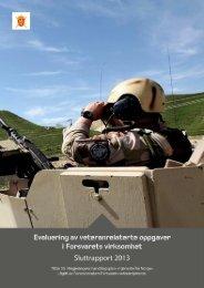 Evaluering av veteranrelaterte oppgaver i Forsvarets virksomhet