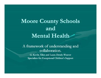 Moore County Schools and Mental Health - Exceptional Children