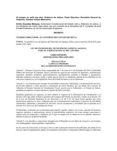 Ley De Ingresos Del Municipio De Zapopan Jalisco Para El