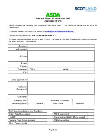 asda-meet-the-buyer-a-draft-application-form-scotland-food-and- Job Application Form For Asda on part time, blank generic, free generic,