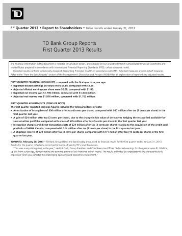 TD Bank Group Reports First Quarter 2013 Results - TD.com