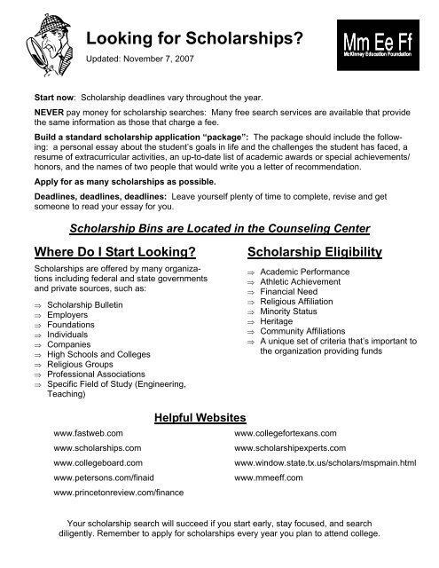 Scholarship Handout - One page
