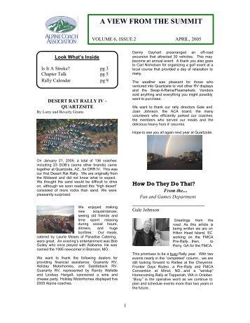 ACA Newsletter April 2005 - Alpine Coach Association
