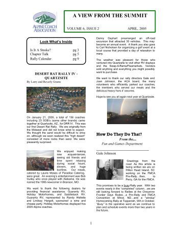 ACA Newsletter April 2005 - Alpine Coach Association