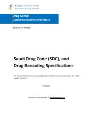 Saudi Drug Code (SDC), and Drug Barcoding Specifications