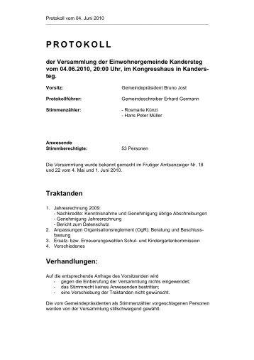PROTOKOLL - Einwohnergemeinde Kandersteg