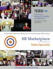 Hit your target audience by exhibiting at the 29th Annual - kyshrm