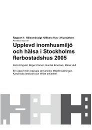 Rapport 1 från 3H projektet - Arbets- och miljömedicin   Uppsala