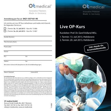 Download OP-Kurs Flyer - OT medical GmbH