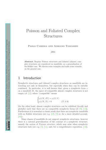 Poisson and Foliated Complex Structures - Paolo Caressa