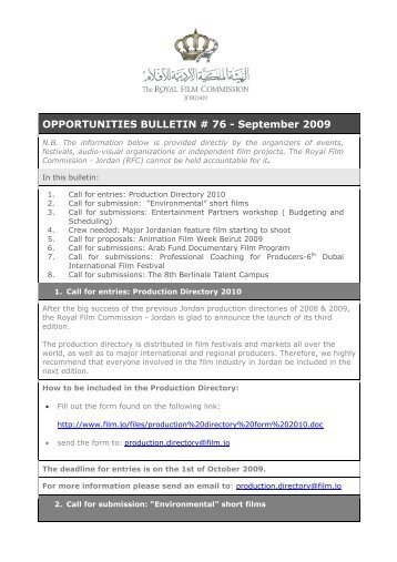 OPPORTUNITIES BULLETIN # 76 - September 2009