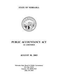PUBLIC ACCOUNTANCY ACT - Nebraska Board of Public ...