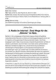 3. Radio im Internet - Zwei Wege für die - Mediaculture online