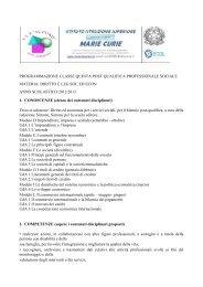 PROGRAMMAZIONE CLASSE QUINTA POST ... - Sogisnc.it