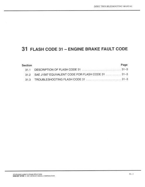 31 FLASH CODE 31 — ENGINE BRAKE FAULT CODE