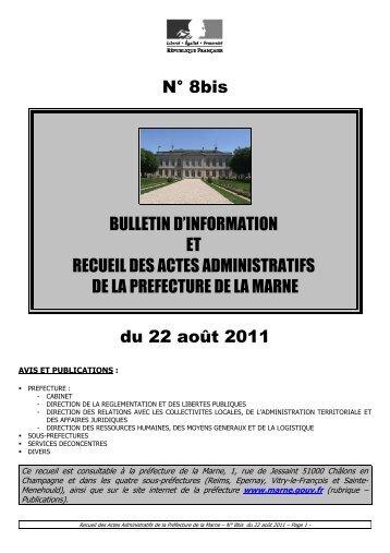 Recueil 8bis-2011 du 22 août - 15,24 Mb - Préfecture de la Marne