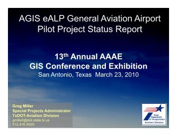 AGIS eALP General Aviation Airport Pilot Project Status Report