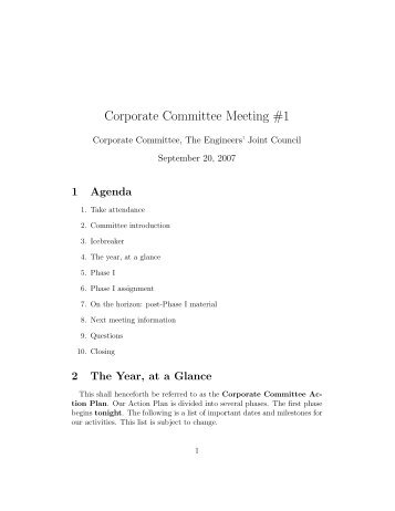 Corporate Committee Meeting #1 - Christopher Fletcher