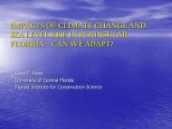 Impacts of climate change and sea level rise in peninsular Florida