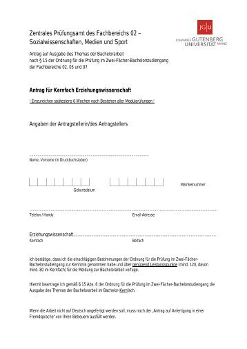 Bachelorarbeit uni mainz fb 05 entscheidungsproblem bwl