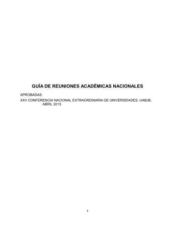 GUÍA DE REUNIONES ACADÉMICAS NACIONALES - Comité ...