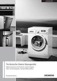 Technische Daten Hausgeräte s - Siemens Hausgeräte