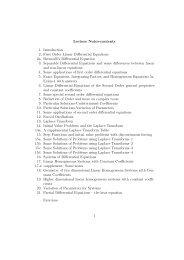 Lecture Notes-contents 1. Introduction 2. First Order Linear ...