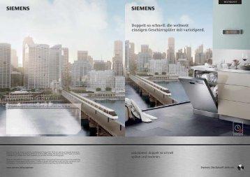 die weltweit einzigen Geschirrspüler mit ... - Siemens Hausgeräte