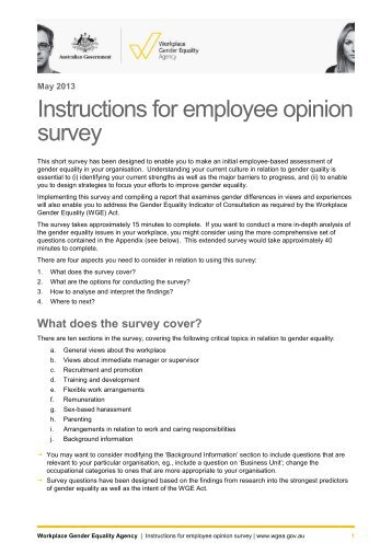 Instructions for employee opinion survey - The Workplace Gender ...