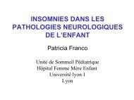 insomnies dans les pathologies neurologiques de l'enfant - SFRMS
