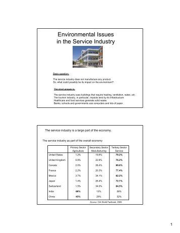 Environmental Issues in the Service Industry - Thayer School of ...