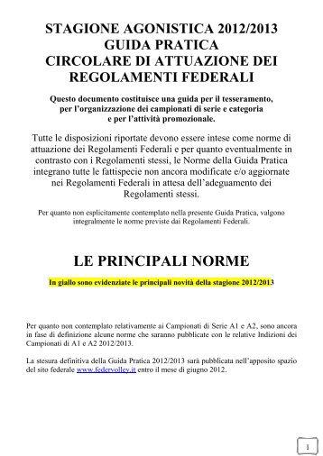 Le principali Norme della Stagione 2012/2013 - FIPAV Milano ...