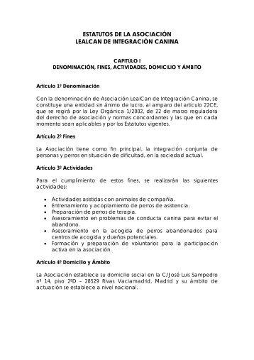ESTATUTOS DE LA ASOCIACIÓN LEALCAN DE INTEGRACIÓN ...