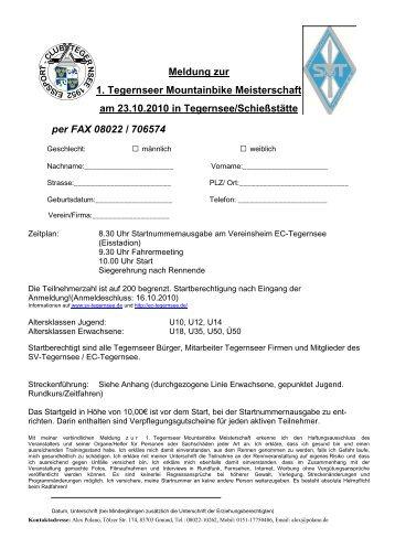 Meldung zur 1. Tegernseer Mountainbike Meisterschaft am ...