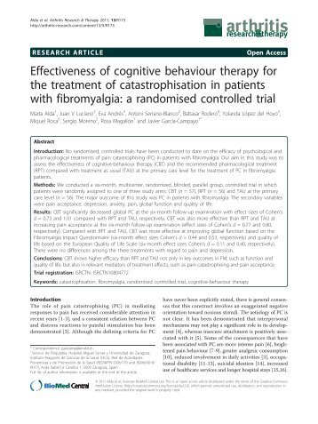 Effectiveness of cognitive behaviour therapy for the treatment of ...