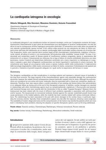 La cardiopatia iatrogena in oncologia - sicoa