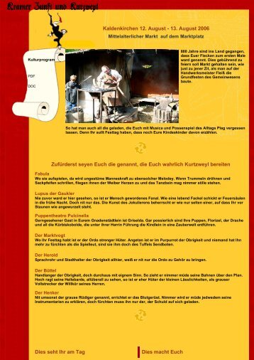 Kaldenkirchen 12. August - 13. August 2006 Zufürderst seyen Euch ...
