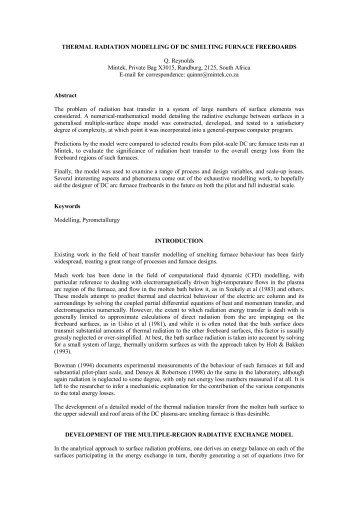 Thermal radiation modelling of DC smelting furnace ... - Mintek