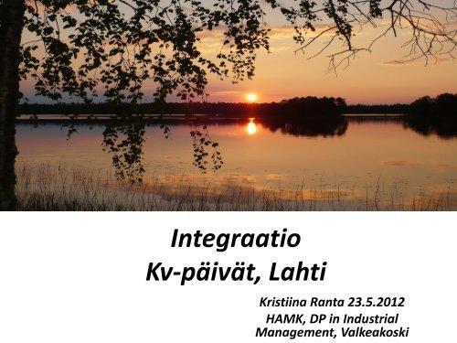 Integraatio kv-Lahti 120523