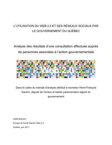 Analyse des résultats d'une consultation effectuée auprès