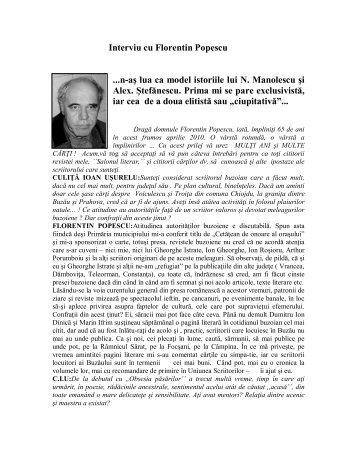 Interviu cu Florentin Popescu - culitaioanusurelu.ro