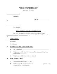 Final Pretrial Order - Required Form - Southern District of Ohio